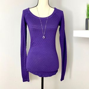 Free People Purple Long Sleeve Ribbed Top L/G